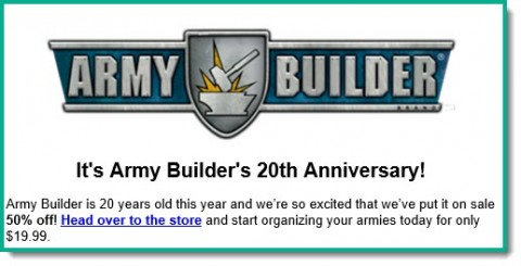 Army Builder on special 50% off