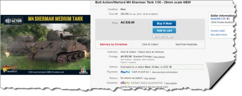 Army surplus... Sherman M4 28mm new still in the box.